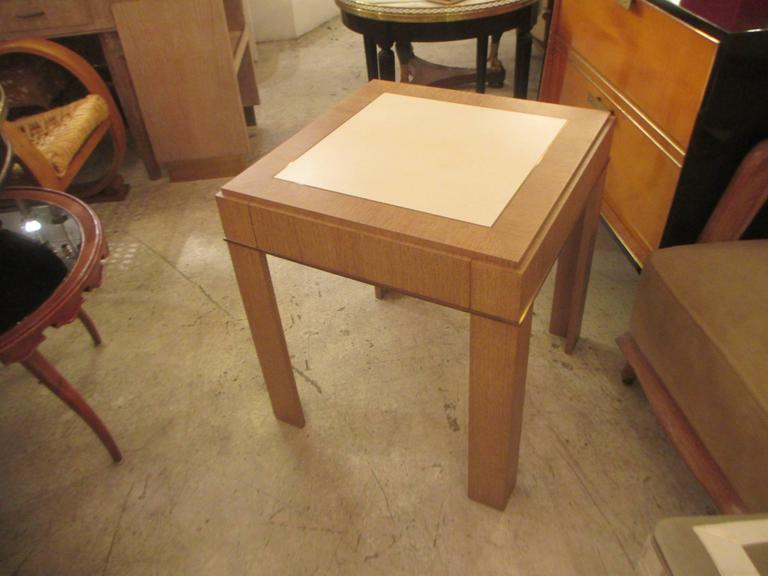 Custom Cerused-Oak Side Table with Parchment Top For Sale 2