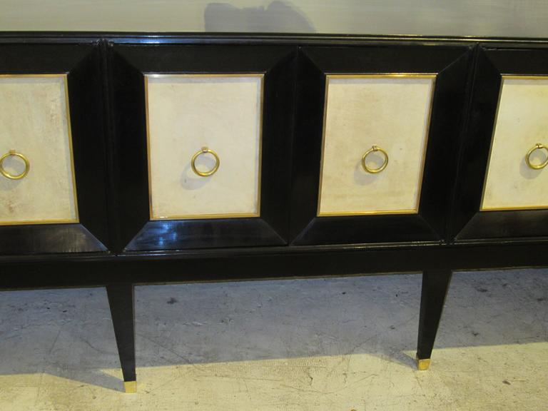 French Ebonized Parchment Sideboard on Tapered Legs For Sale