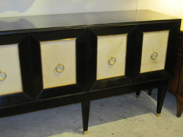 Ebonized Parchment Sideboard on Tapered Legs In Excellent Condition For Sale In New York, NY