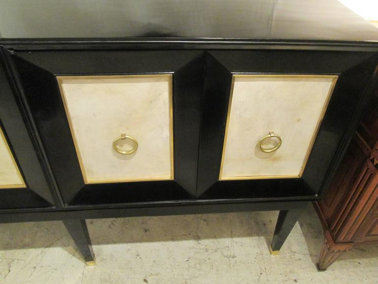 Ebonized Parchment Sideboard on Tapered Legs For Sale 1