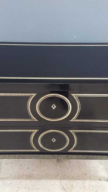 Ebonized  Pair of Custom Commodes in the Fornasetti Manner For Sale