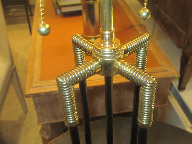 Unusual Pair of Brass and Iron Table Lamps 4