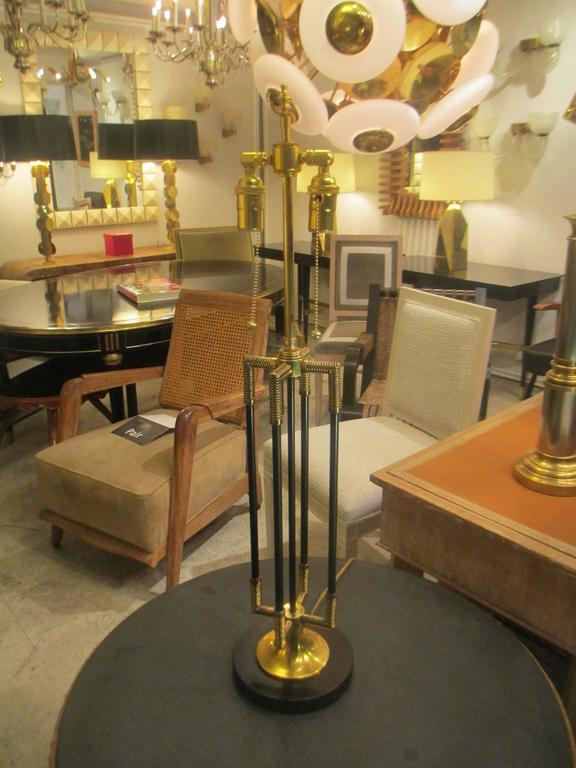 Unusual Pair of Brass and Iron Table Lamps 2