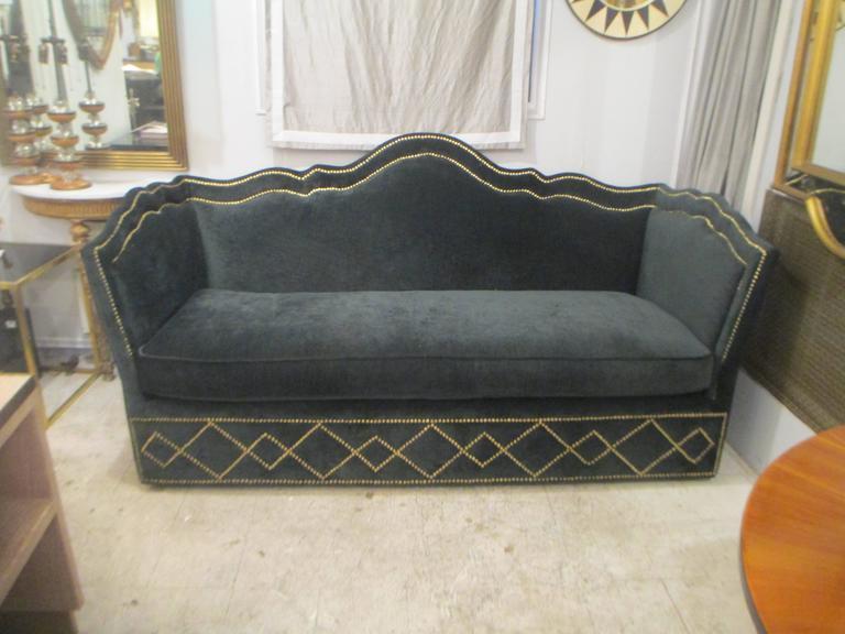 Vintage Baker Silk Velvet-Upholstered Sofa 2