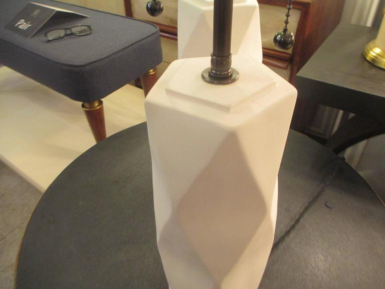 Pair of Cubist Inspired Plaster Lamps In Excellent Condition For Sale In New York, NY