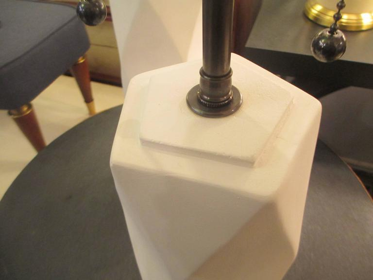 Contemporary Pair of Cubist Inspired Plaster Lamps For Sale