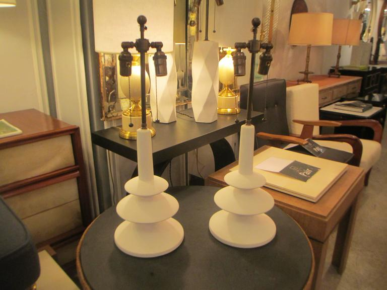 Custom  pair of French plaster lamps in the manner of Alberto Giacometti.
