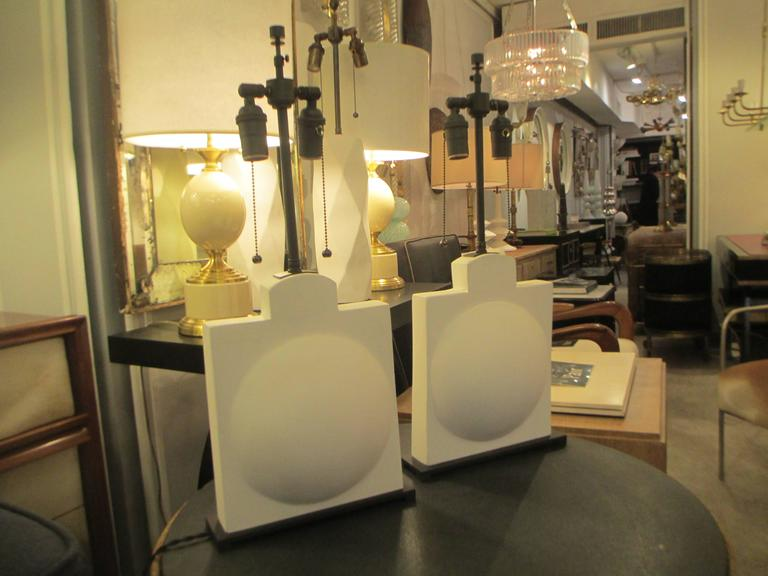 French Pair of Modern Sculptural Plaster Lamps For Sale