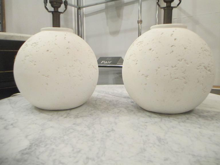 American Pair of Textured Circular Plaster Lamps For Sale