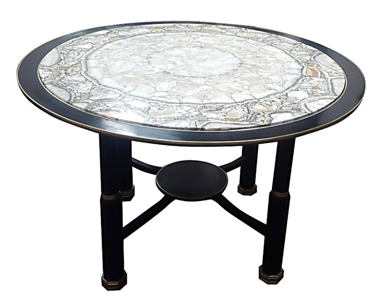 Sculptural Ebonized Bronze-Mounted Center Table with Onyx Top 2