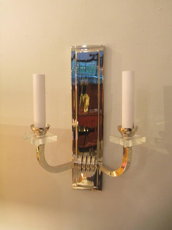 Custom Pair of Nickel- Plated Two Arms Sconces 2