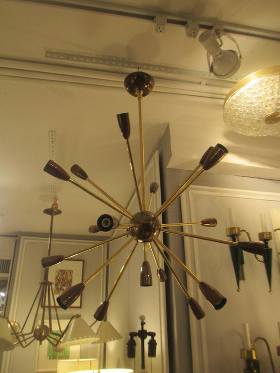Contemporary Custom Brass and Copper Sputnik Chandelier with 14 Arms For Sale