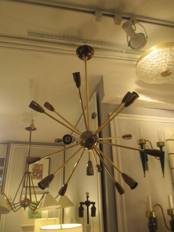 Custom Brass and Copper Sputnik Chandelier with 14 Arms For Sale 1