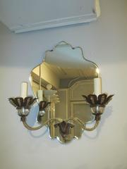 A Pair of Venetian  Mirrored-Back Two-Arm Sconces