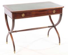 Antique English Mahogany Writing Desk with Curule Base