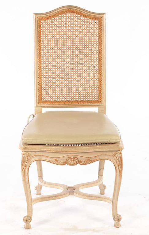 French Set of Six Louis XV Style High Back Caned and Painted Dining Chairs For Sale