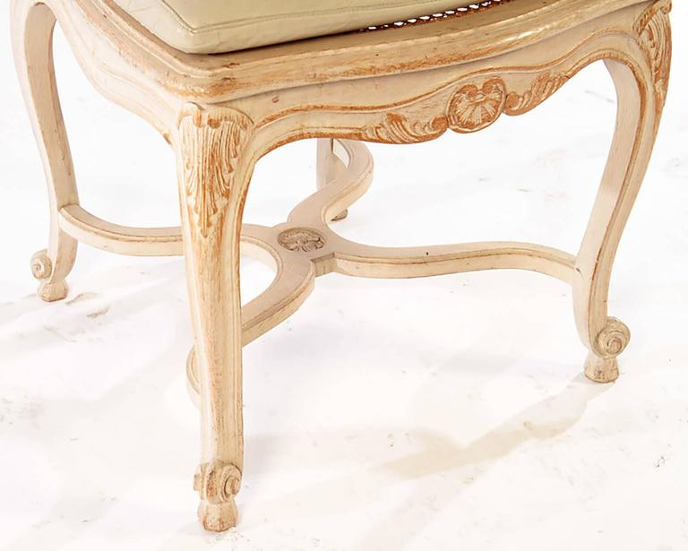 Set of Six Louis XV Style High Back Caned and Painted Dining Chairs In Excellent Condition For Sale In New York, NY