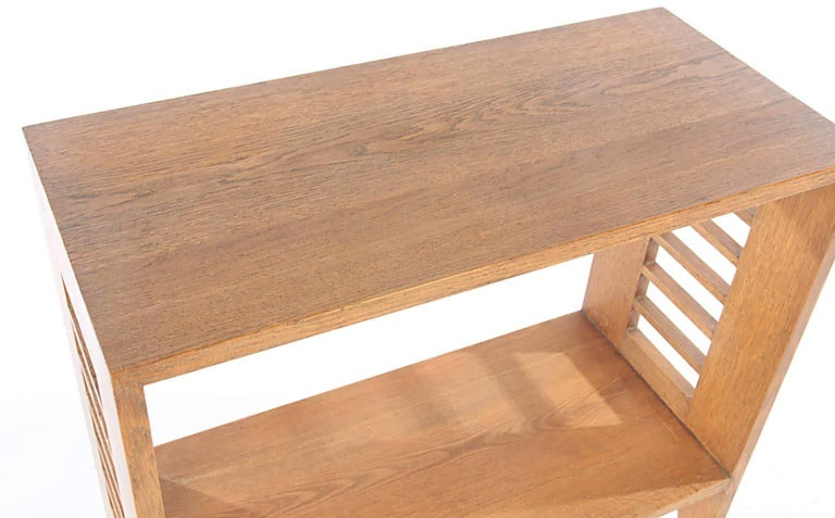 Pair of Sculptural French Modernist Cerused Oak Consoles 4