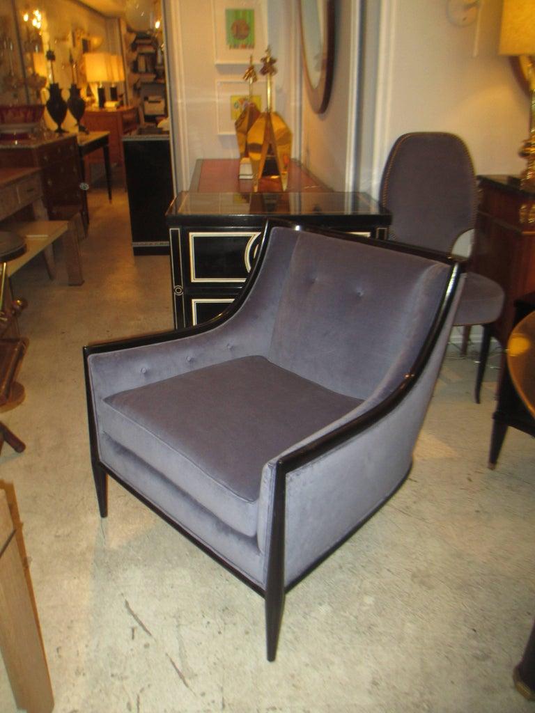 Pair of Mid-Century Modern Ebonized Armchairs 2