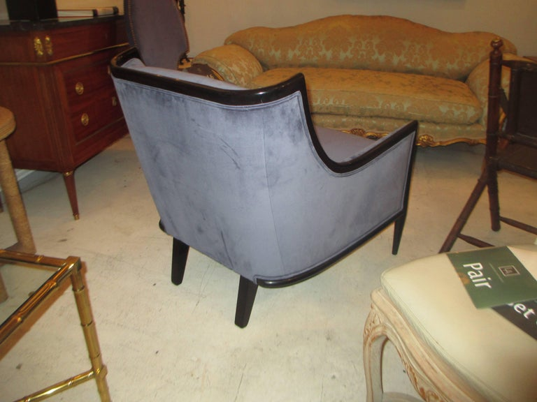 Pair of Mid-Century Modern Ebonized Armchairs 3