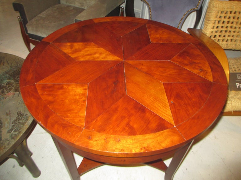 Italian Parquetry Walnut Center Table with Starburst Pattern For Sale