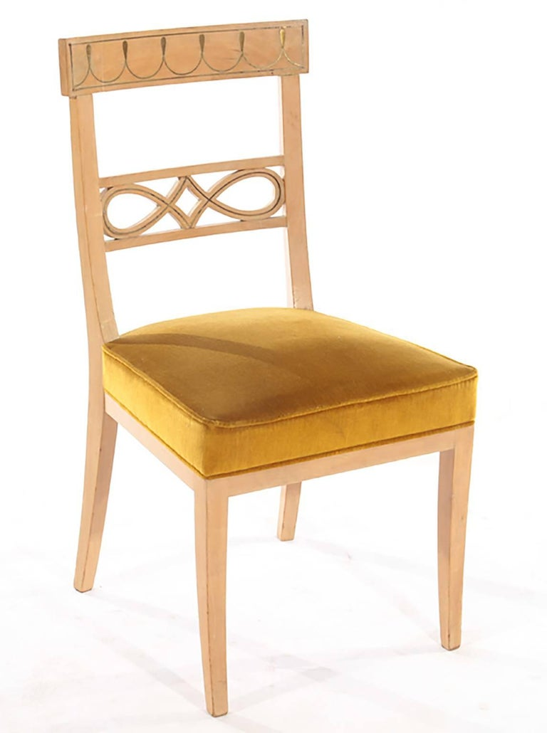 Set of Ten Brass-Inlaid Dining Chairs in the Regency Manner 2