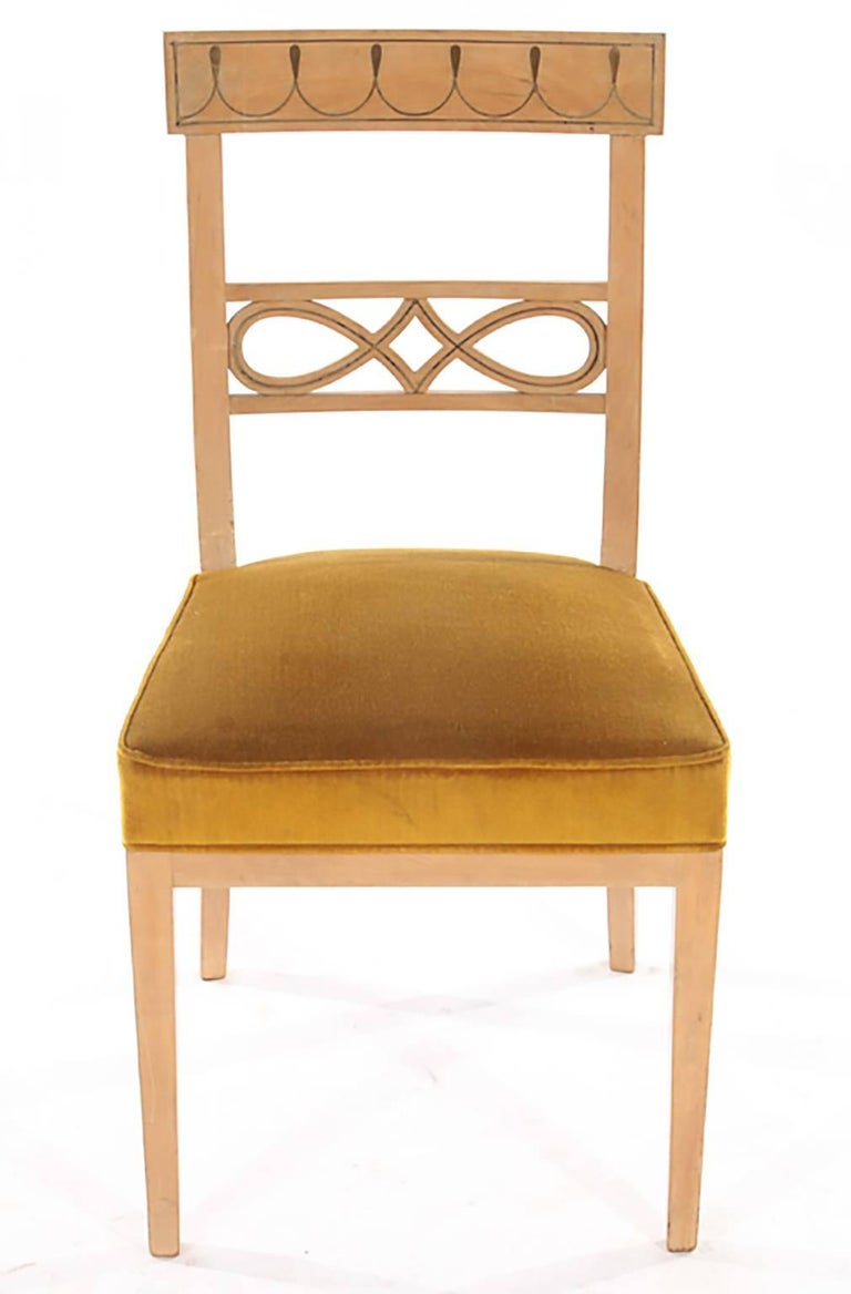 Set of Ten Brass-Inlaid Dining Chairs in the Regency Manner 3