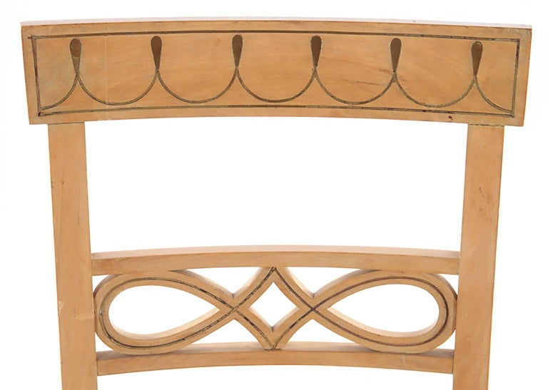 Set of Ten Brass-Inlaid Dining Chairs in the Regency Manner 4