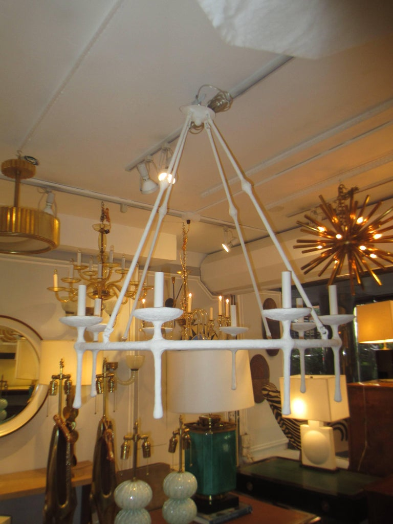 International Style Custom Eight -Arm Plaster Fixture in the Giacometti Manner For Sale