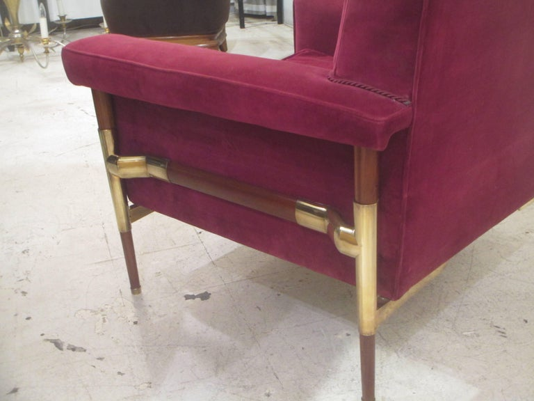 20th Century Unusual Pair of Italian Midcentury Lounge Chairs For Sale
