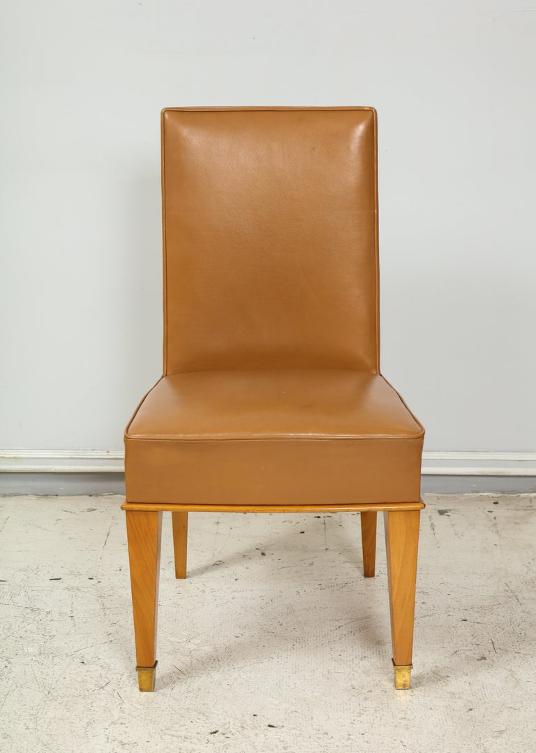 Set of Ten French 1940s Leather Upholstered Dining Chairs In Good Condition For Sale In New York, NY