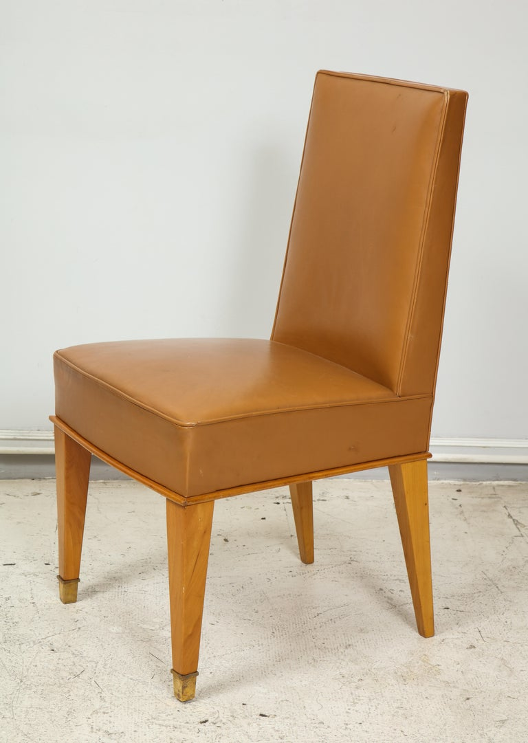 20th Century Set of Ten French 1940s Leather Upholstered Dining Chairs For Sale