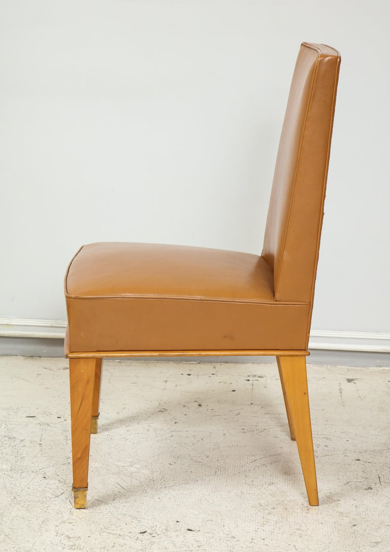 Set of Ten French 1940s Leather Upholstered Dining Chairs For Sale 1