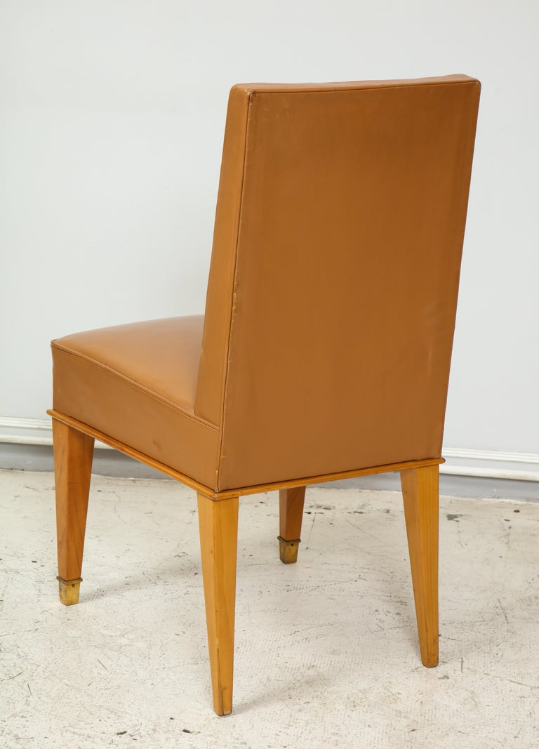 Set of Ten French 1940s Leather Upholstered Dining Chairs For Sale 2