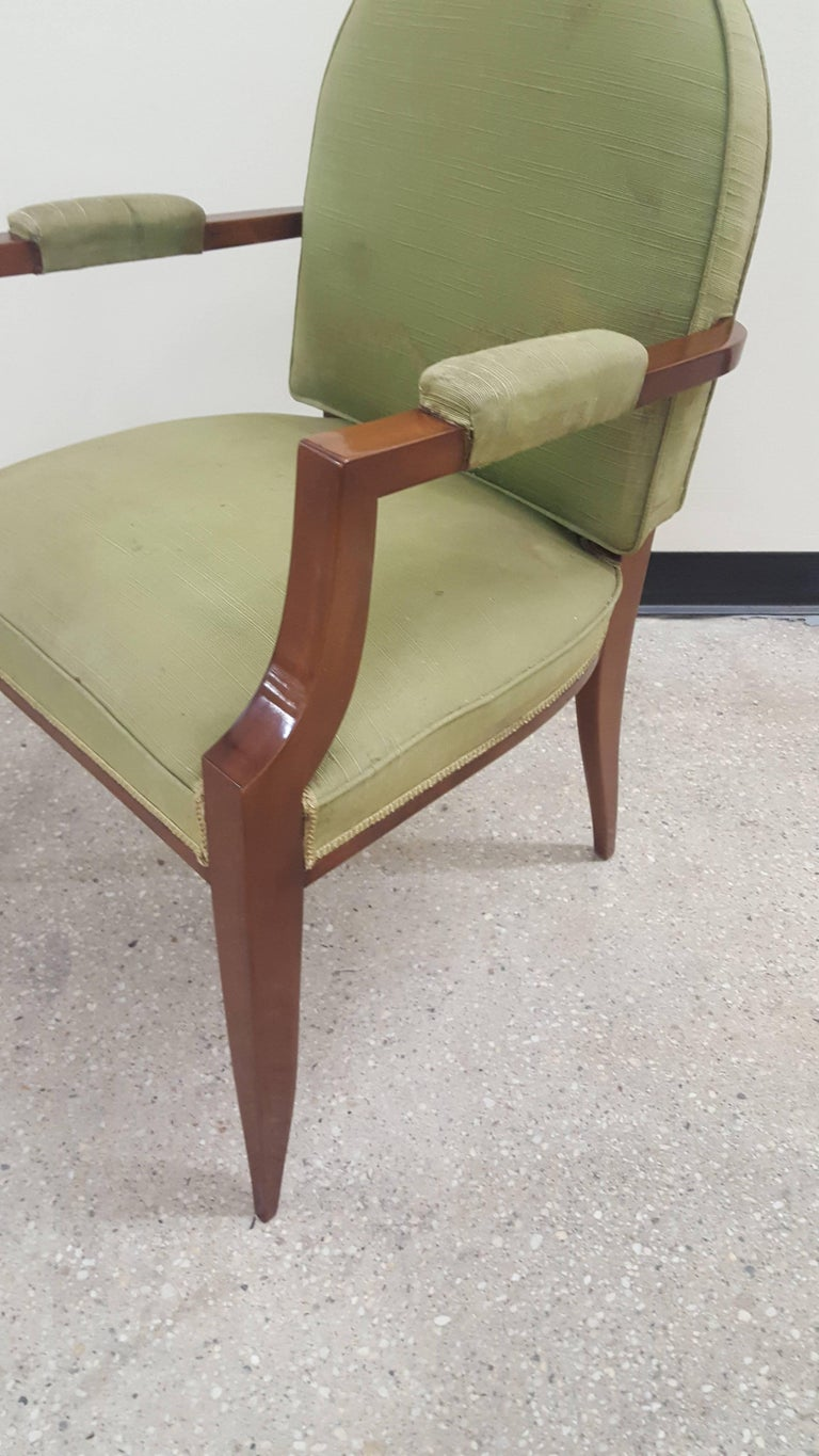 20th Century Pair of French 1940s Mahogany Armchairs For Sale