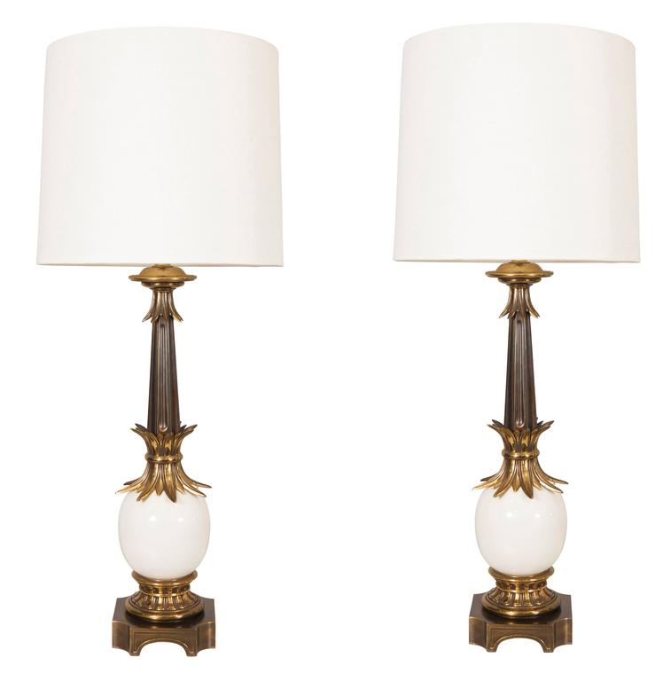 Pair of Stiffel Ostrich Egg Lamps with Linen Shades