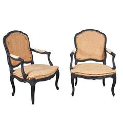 Louis XV Style Matt Black Pair of Chairs