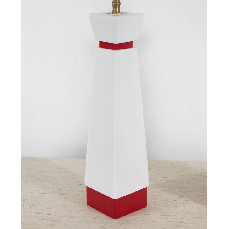 Painted Pair of Red and White Mid-Century Lamps For Sale