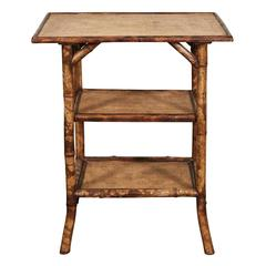 English Victorian Tiger Bamboo Table