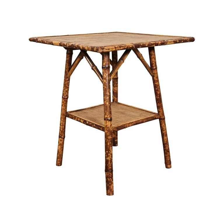 Incroyable This Nice Square Top English Victorian Tiger Bamboo Table Has Angled  Supports And One Shelf.