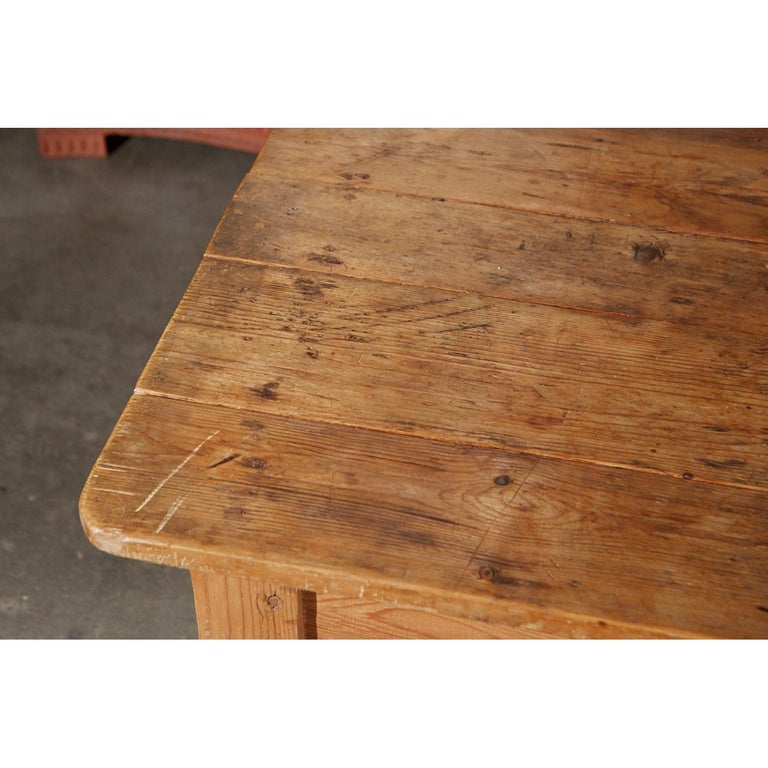 Irish Rustic Country Pine Table For Sale