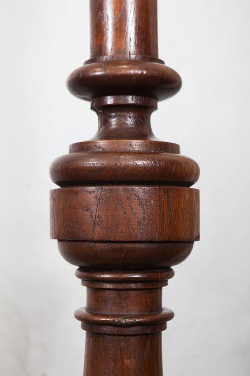 Turned English Oak Pedestal, 19th Century For Sale