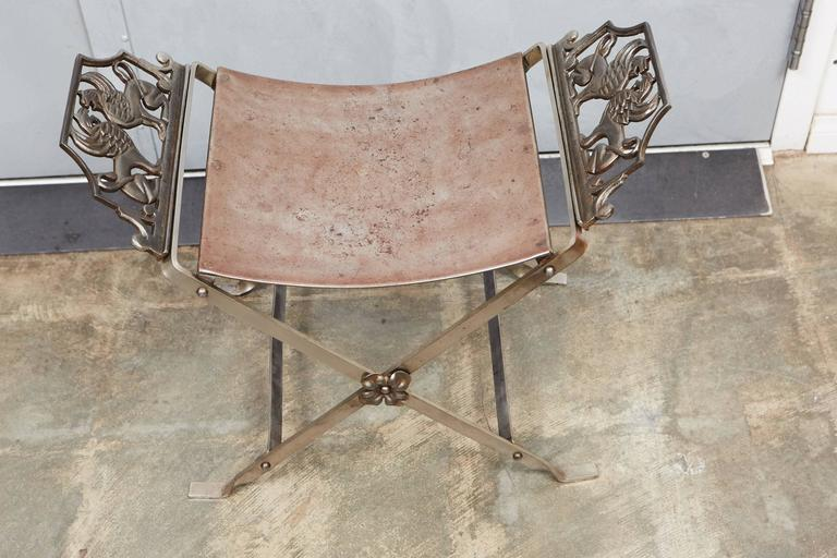 1920s Metal Stool In Good Condition For Sale In Culver City, CA