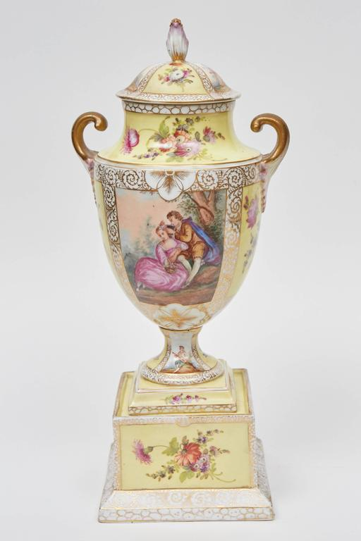 German Dresden Lidded Urn on Plinth For Sale