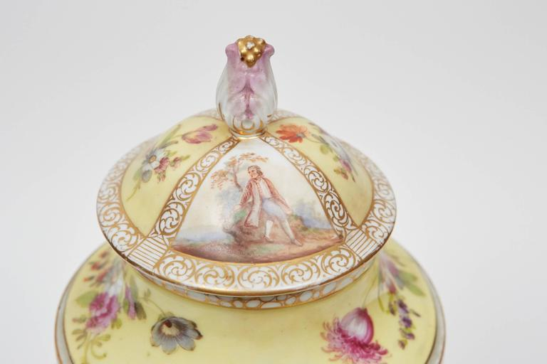 Hand-Painted Dresden Lidded Urn on Plinth For Sale