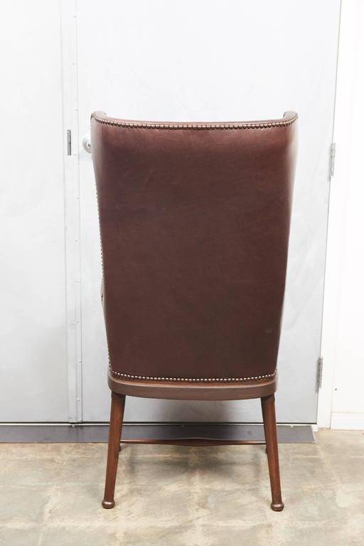English High Back Leather Upholstered Chair For Sale