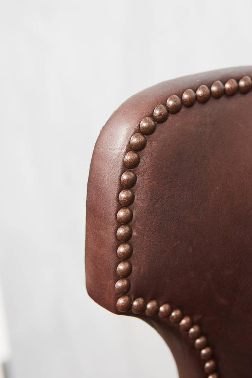 Turned High Back Leather Upholstered Chair For Sale