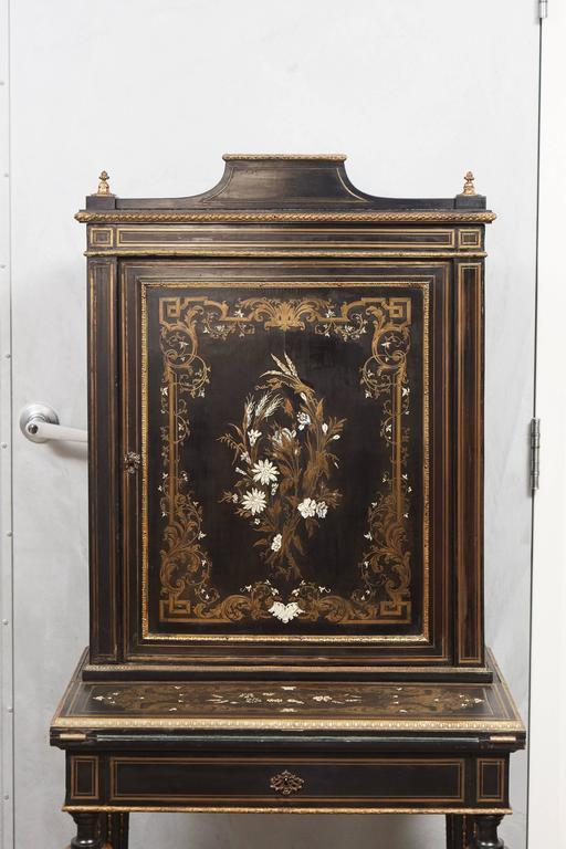 Napoleon Iii Louis Xv Revival Ormolu Mounted Ebonized