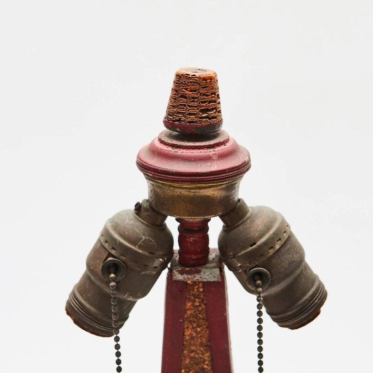 Carved American Folk Art Corn Cob Table Lamp For Sale