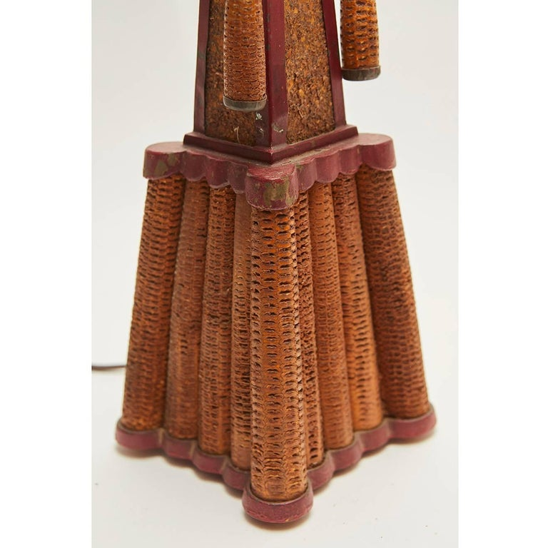 Mid-20th Century American Folk Art Corn Cob Table Lamp For Sale
